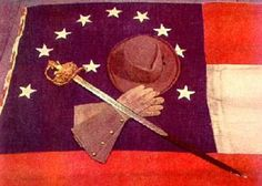 General Robert E. Lee's hat, gauntlets, sword and headquarters flag