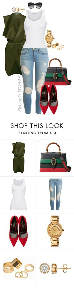 """""""Untitled #3278"""" by stylebydnicole ❤ liked on Polyvore featuring Gucci, American Vintage, Frame Denim, Yves Saint Laurent, Versace, Pieces and Dolce&Gabbana"""
