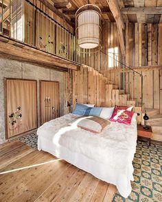 deco cabaña, dormitorio