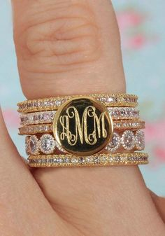 Beautiful Monogrammed Rings! Do you love the gold or silver more? Stack Sets and Monogrammed Ring items start at $24.99! Only at Marleylilly.com #RingStack
