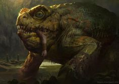ambiguous_gender amphibian blood claws feral green_theme jason_kang magic_the_gathering monster official_art outside partially_submerged scalie severed_limb toad Dark Fantasy, Fantasy Rpg, Fantasy Monster, Monster Art, Creature Concept Art, Creature Design, Monster 1200, Cool Monsters, Fantasy Beasts