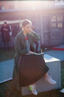 pleated skirt sneakers and a long coat! perfect for winterdays!