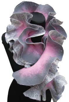 Handmade felted Long ruffle scarf ashygray silver and by ProninA, $83.00