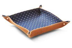 Boot Leather Valet Tray, Navy Polka Dot
