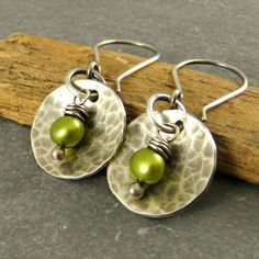 Earrings Sterling Silver Disc Freshwater Pearl by adorned7 on Etsy