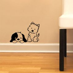 Cute Puppys  Children Decor Vinyl Sticker Wall Decal by decalplaza, $5.99