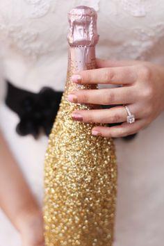 Gold glitter champagne bottle, love it!