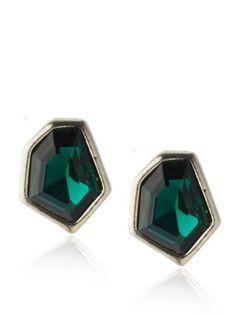 49% OFF Janna Conner Emerald Green Crystal Stud Earrings