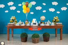 decoracao_festa_infantil_quitandoca_foto Twin Birthday Parties, Birthday Party Themes, Balloon Decorations, Birthday Decorations, Fun Party Themes, Party Ideas, Airplane Party, Sofia Party, Baby Shower