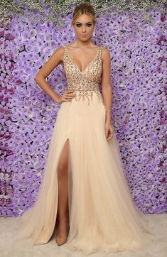 Sparkly Beaded Tulle Prom Dress 2019 Custom Made Tulle Beadings Evening Party Dress Fashion Long Side Slit School Dance Dress Pageant Dresses for Girls School Dance Dresses, Girls Pageant Dresses, Cheap Prom Dresses, Tulle Prom Dress, Party Dress, Bridesmaid Dress, Gown Dress, Formal Dresses Online, Dress Online