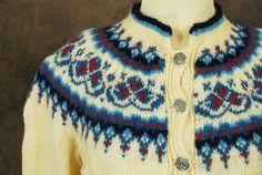 STOREWIDE SALE vintage Norwegian Cardigan - 60s Wool Sweater - Blue and Ivory Fair Isle Sweater SZ L Xl