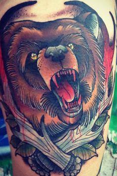 Traditional Bear Tattoo #tattooideaslive #traditional #bear #tattoos