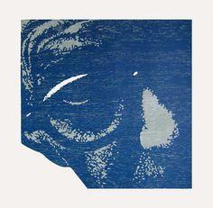 Titel: Face '59. 2 kleuren houtdruk, oplage 4. Formaat: 46 x 46 cm, 2009.