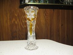 Gorgeous Yellow Amber Cut Glass Bud Stem Vase Floral Frosted Brilliant Crystal Leaded by NewOxfordVintage on Etsy