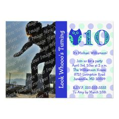 Blue Owl 10th Birthday Party Photo Invitations