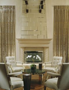 Mirrored Fireplace, glamorous by Jamie Herzlinger