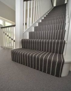 <Hartley & Tissier Stripes Flatweave CF Stair runner carpet in bespoke colours su. Hartley & Tissier Stripes Flatweave CF Stair runner carpet in bespoke colours supplied to and fitted by Bowloom Ltd. Staircase Carpet Runner, Stairway Carpet, Hallway Carpet Runners, Stair Runners, Striped Carpet Stairs, Striped Carpets, Up House, House Stairs, Wood Stairs