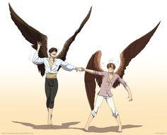 Hetalia-winged Spain and Romano! :)