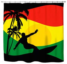 "Surfer Mon"" Jamaican Colored Shower Curtain - Beach Style - Shower ..."