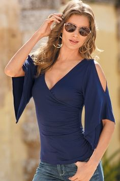 Boston Proper Cold-shoulder surplice top #bostonproper Very sexy to me.