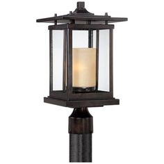 Franklin Iron Works Modern Outdoor Post Light Bronze Pagoda Clear and Amber Frosted Glass for Exterior Garden Yard Patio Solar Shed Light, Solar Light Crafts, Diy Solar, Fairy Lights In A Jar, Solar Fairy Lights, Mason Jar Light Fixture, Mason Jar Lighting, Solar Light Chandelier, Lamp Light