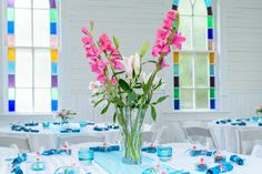 colorful reception details, tropical flowers at Mercury Hall by austin wedding photographers