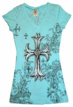 Blue Western Cowgirl Large Rhinestone Covered Cross Tattoo Shirt Easter Gift!