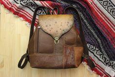 Купить Рюкзак из натуральной кожи в стиле бохо рыже-коричневый - коричневый, однотонный, комбинированный
