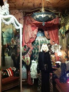 Virginia Bates at her West London antique clothing store called Virginia.