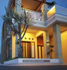 Layanan @ Jasa Gambar Rumah - Rumah Hook 2 lantai Konsep Bali di Tulungagung Bali Fashion, Home Fashion, Kendo, Sweet Home, Villa, Room Decor, Exterior, House Design, House Styles