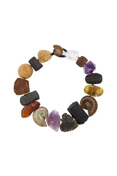 Multicolour amethyst and quartz stone & fossil necklace from the Monies Unique collection. Made in Denmark #jewelrynecklaces