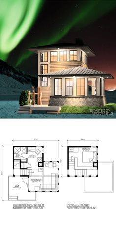 , 1 bedroom, 1 bath u form Northwest - Robinson Plans Small House Plans, House Floor Plans, Micro House Plans, The Plan, How To Plan, Compact House, Tiny House Living, Tiny House 3 Bedroom, 1 Bedroom House Plans