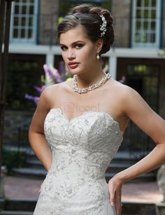 ❀ White Mermaid Appliques Sweetheart Tulle Wedding Dresses | Riccol ❤