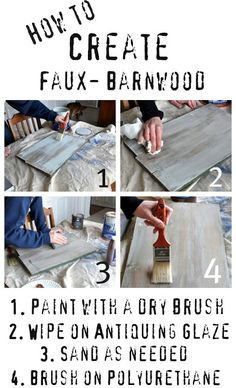 """Faux Barn Wood Tutorial (starting with bare wood) by Monica & Jess, """"The Real Housewives of Bucks County"""""""