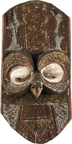 Wall Panel with Sculptured Face of Owl  Congo, Nkanu  Polychrome wood, 48 cm high  Peggy Guggenheim Collection, Venice