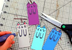 Instead of using random scraps of paper, I whipped up these super colorful and cute kitty themed DIY bookmarks out of paint chips! Creative Activities, Preschool Activities, Indoor Activities, Diy For Kids, Crafts For Kids, Market Day Ideas, Types Of Pencils, Kids Market, Wooden Pencils