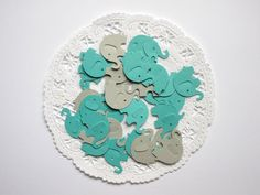 Teal & Gray Elephant Confetti, Die Cuts, Baby Shower, Birthday Party, Table Decor,  100 PIECES  $2.95 ETSY LILPAWSPAPERART