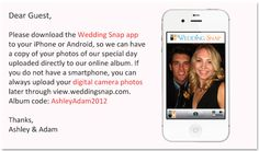 Instantly capture all your guests' photos in one place! This is genius! Have your guests download this app & you automatically get all the photos in an album! AND its FREE!