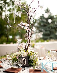 Branches and Crystal Wedding Decor