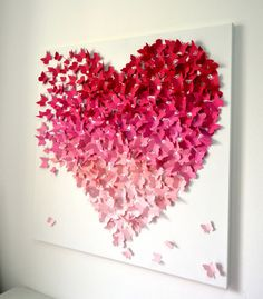 3D Butterfly Wall Art in Pink Ombre Modern 3D by RonandNoy