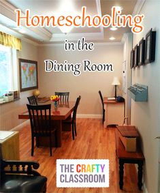 Homeschool in the Dining Room.  Visual Inspiration.  Storing Curriculum, Decor.