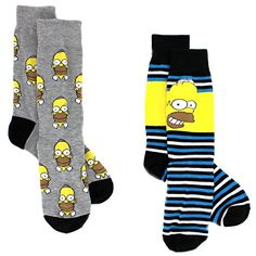 The Simpsons Mens 2 pack Crew Socks #Homer #TheSimpsons #FathersDay Novelty Sock Set Mens Man Dad Teenager #YankeeToyBox #Candy #NoveltySocks #PrimeShipping #AmazonPrime