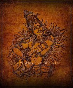 Mysore Painting, Kerala Mural Painting, Krishna Painting, Madhubani Painting, Art Forms Of India, India Art, Pichwai Paintings, Indian Art Paintings, Mural Art