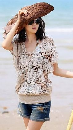 BEACH Cover UP Tunic Crochet top Crochet tunic Lace by NinElDesign