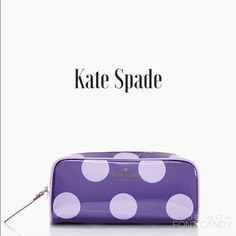 saleSmall Henrietta by Kate Spade Coated cosmetic clutch in a cheerful polka dot purple print. You can toss it in your bag woth all that's essential to girl during the day. Brand new, tags still attached. Zip around, kate spade new york print.  3.5'' h x 7.7''w x 2.0'' d (approximates) kate spade Accessories