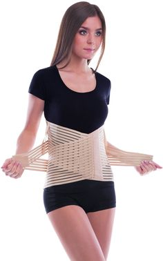"""Breathable Lumbar Support Brace Belt - Lower Back Pain Relief - Relieves Lumbo-Sacral Spinal Compression - Beige, Large, Waist/Belly 42"""" - 45½"""""""