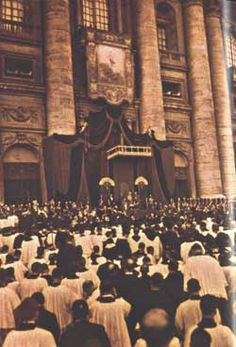 Scene in St Peter's, Rome, at canonisation of St Maria Goretti