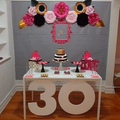 Kate Spade 30th Birthday Inspired Decoration With Paper Flowers