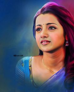 Image may contain: 1 person Stylish Girls Photos, Girl Photos, Digital Portrait, Portrait Art, Potrait Painting, Beautiful Indian Actress, Beautiful Actresses, Trisha Photos, Samantha Photos