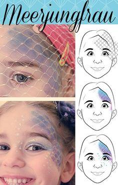 Hier findet ihr die Anleitung für eine süße Meerjungfrau + Anleitung zum download, damit ihr bestens auf Karneval vorbereitet seid. #Karneval #schminken #ideen #Fasching #Meerjungfrau #carnival #Makeup #ideas #kids #kidsmakeup #mermaid #haushaltsmuffel